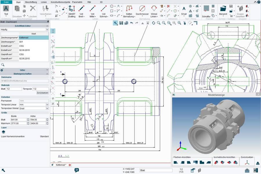 M4 DRAFTING comporte de nombreuses fonctionnalités CAO 2D avec la possibilité de réaliser des modèles 3D à partir des dessins 2D.